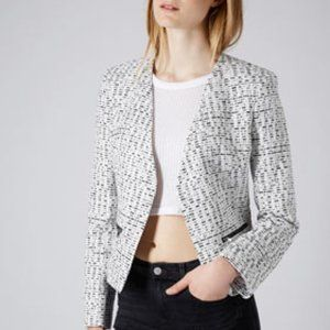 Topshop Gray Monochrome Zip Boucle Blazer Jacket